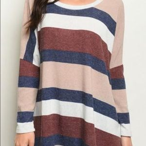 Tops - STRIPES SCOOP NECK LONG SLEEVE TUNIC TOP